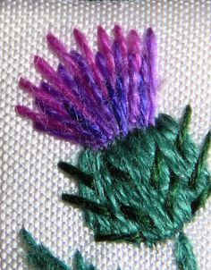 Hand embroidery thistle necklace thread painting on silk Embroidery Hoop Crafts, Machine Embroidery Patterns, Crewel Embroidery, Ribbon Embroidery, Embroidery Designs, Thread Painting, Silk Painting, Sewing Crafts, Sewing Projects