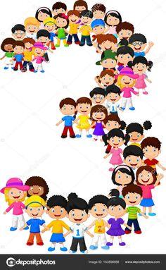 Ilustración vectorial de niños pequeños del número tres