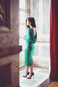 Long sleeved, green sequins, dip back= perfect holiday dress