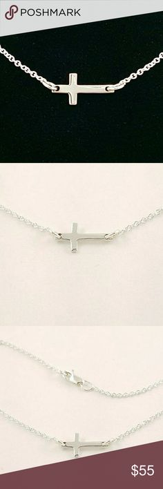 """Sideways Cross Necklace Sterling Silver Handmade by my talented husband.  The entire necklace is made of sterling silver and has a lobster style clasp. At just over 1/2 inch in length, the cross is perfectly dainty.?  18"""" chain, but can be shortened to whatever length you desire. Comment with the length of the chain you'd like. :) Justin Isaac Jewelry Jewelry Necklaces"""