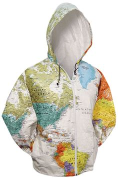Hooded World Map Jacket