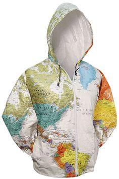 Hooded World Map Jacket