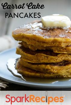 Carrot cake and pancakes together? Now, that's a breakfast we can get behind! These flavorful carrot cake pancakes might taste indulgent, but they're low in both fat and calories. Top with low-fat cream cheese and a drizzle of maple syrup for an even more decadent morning meal. via @SparkPeople