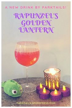 Are you looking for a yummy and fruity drink for your next family celebration? Look no further! Let us introduce you to Rapunzels Golden Lantern, inspired by Disneys Tangled.  This bold and full-flavored concoction was created for our next family toast. Disney Themed Drinks, Disney Alcoholic Drinks, Disney Cocktails, Fruity Drinks, Fun Cocktails, Cocktail Parties, Cocktail Recipes, Disney Inspired Food, Disney Food