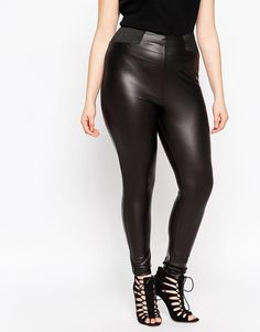 Image 4 of ASOS CURVE Leather Look Leggings With Elasticated Waistband