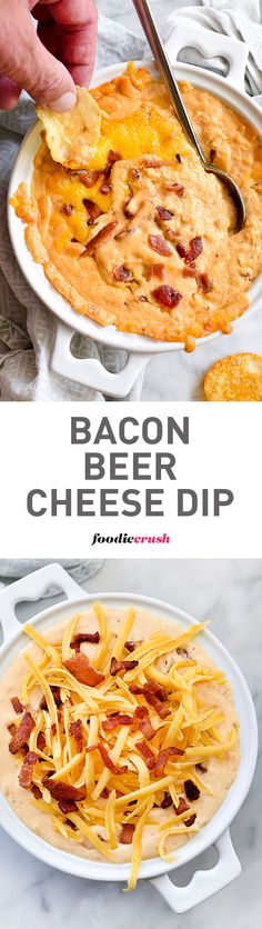 This cheesy dip recipe adds everyone's three favorite condiments to the party: bacon, beer and potato chips. | foodiecrush.com