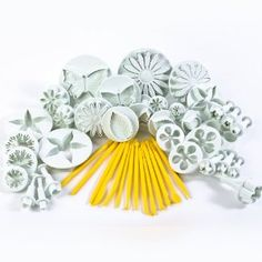 11 SETS (44 PCS) SUGARCRAFT PLUNGER CUTTERS - HEART, STAR, VEINED BUTTERFLY, DAISY, ROSE, BLOSSOM, SUNFLOWER, FLOWER, CAKE TOOLS