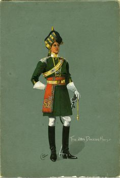 The Deccan Horse Photo: One of a pair of original watercolors on gray-green board signed by Challenor; See also: Sam B. British Army Uniform, Men In Uniform, Military Art, Military History, Military Uniforms, Bengal Lancer, Army Pics, Indiana, Indian Army