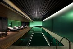 2013 Stunning Green Indoor Swimming Pool, deeps in black and lightens to grey.  Organic warmth of wood.
