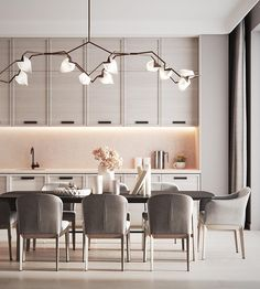 beautiful and affordable dining room decoration ideas 36 Kitchen Room Design, Modern Kitchen Design, Dining Room Design, Interior Design Kitchen, Room Interior, Modern Interior, Kitchen Grey, Kitchen Ideas, Elegant Dining Room