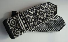 Fair Isle Mittens, Norwegian, Scandinavian, Latvian Braid, Off White and Black, Hand Knit, Extra Long on Etsy, $85.00