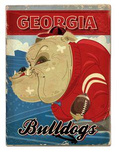 UGA football by Thomas Burns, via Behance Georgia Bulldogs Football, Sec Football, Football Fans, Football Season, College Football, Football Conference, University Of Georgia, Down South, Sports Art