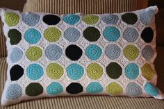 Crochet Dot Pillow (pattern in Swedish).
