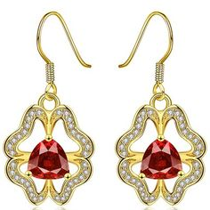 Madagascar Ruby Natural solid gold Earrings 2017 New CH Stone Earrings, Crystal Earrings, Drop Earrings, Ruby Stone, Wholesale Jewelry, Solid Gold, Fine Jewelry, Jewellery, 18k Gold