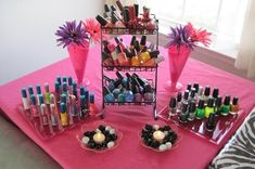 Set up ready to paint some nails at a sleepover or pamper party