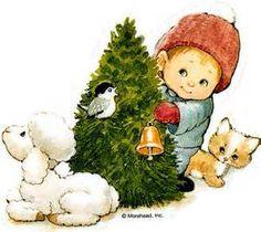 kindje met kerstboom