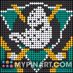 Pin Art (Pushpin Art) is a modern, fun style of art that is collaged out with thousands of painted and strategically placed plastic pushpins. Fuse Bead Patterns, Perler Patterns, Loom Patterns, Beading Patterns, Cross Stitch Patterns, Push Pin Art, Duck Crafts, Baby Bibs Patterns, Perler Bead Templates