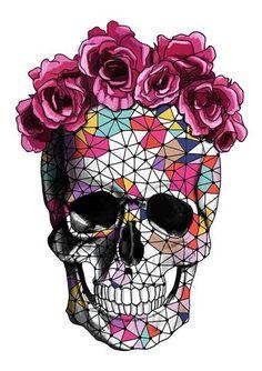 Tattoo Geometric Rose Sugar Skull 27 Ideas For 2019 Rose Crown, Flower Crown, Trendy Tattoos, Small Tattoos, Rose Floral Crowns, Los Muertos Tattoo, Aquarell Tattoo, Casual Mode, Totenkopf Tattoos