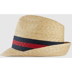 Gucci Woven Straw Fedora (£145) ❤ liked on Polyvore featuring accessories, hats, straw, women, red hat, fedora hats, straw hats, straw fedora and blue straw hat