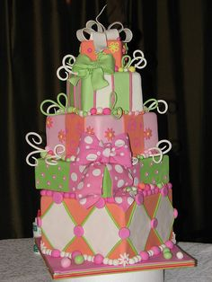 Love the fondant colors Vintage Birthday Cakes, Cool Birthday Cakes, Birthday Cake Girls, 2nd Birthday, Birthday Ideas, Happy Birthday, Gorgeous Cakes, Pretty Cakes, Cute Cakes
