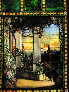 Louis Comfort Tiffany  Landscape with a Greek Temple, 1900. Stained glass (1848-1933) Cleveland Museum of Art