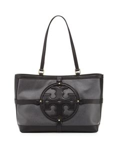 Holly East-West Canvas/Leather Tote Bag, Black by Tory Burch at Neiman Marcus. $350