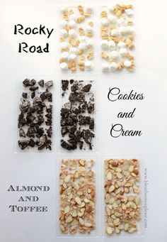 Home Made Candy Bars: Rocky Road, Cookies  Cream, and Almond  Toffee.  Blessthismessplease.com