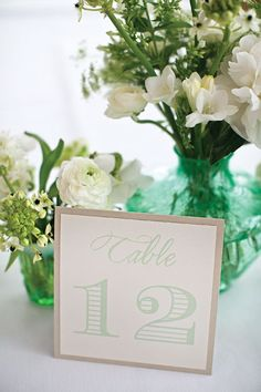 Mint Theme Wedding Table Numbers