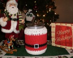 Santa Clause Candle Cozy  St. Nick Cozy  Hand by FibersOfHome, $15.00