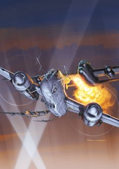 Cool but improbable artwork (from 'Le blog de Romain Hugault'). Artistic licence is fine by me. Note that night bombers did not fly in formation, rather in a loose 'stream'. Twin engined night fighters did not typically operate in conjunction with searchlights (associated with Flak positions), they prowled the stream.