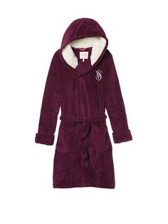 The Cozy Hooded Short Robe ***SIZE SMALL, RUBY WINE COLOR