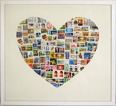 Check out the prices for this work of art by Catherine Swan!! I don't have the vintage worldly stamps that make this so unique but I might give it a try with local stuff. It's Beautiful!!   435 mm W x 490 mm H - $650   520 mm W x 580 mm H - $850