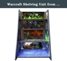 Warcraft Shelving Unit from the video game and movie. 4 shelf graphic display of Warcraft Characters and scenes from the movie and video game. Makes a great atmosphere for displaying WarCraft, Hellscream, Mannoroth action figures. It has all kinds of hidden scenery and figurines. Scenes may not mean much to Moms or Dads, but all the kids have gone bunkers over the artwork in here. It also makes it easy for your youngster to clean up their toys and put them away. Mom's love it almost as…