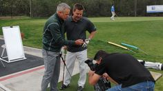 Sports Anchor John Howard from CBS 8 - San Diego News reviewing his Golf MTRx swings and tagging the swing to better evaluate improvements. — at San Diego Golf Institute.