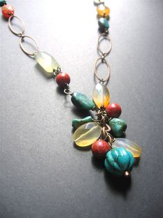 Long Boho Necklace. Multistone Long by SimpleElementsDesign, $64.00