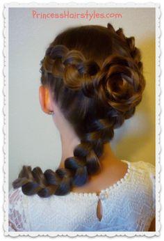 flower girl hairstyle, dutch braid rose