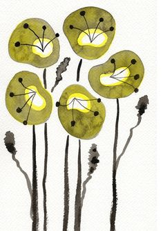Buy 2 Get 1 FREE -- Watercolor Painting: Watercolor Flowers -- Art Print --  Yellow Poppies -- 5x7