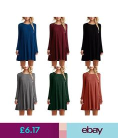 Dresses Casual Womens Loose Solid Long Sleeve Round Neck Cocktail Party Tunic Dress Tops #ebay #Fashion