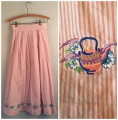 Pink and White Striped Cotton Skirt with Embroidered Teacups and Teapots Vintage long Soft Pleat skirt Small Bechamel by JennyandPearl on Etsy