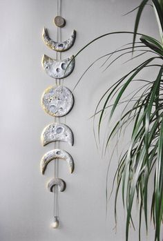 Lunar Decor Moon Phases Wall Hanging Moon Phase Garland Moon Wall Hanging Gold Moon Decor Crystal Wall Decor Gold Moon Cycle Raw Citrine – DIY Pottery – New Epoxy Moon Decor, Deco Nature, Crystal Wall, Crystal Decor, Paperclay, Diy Clay, Air Dry Clay Crafts, Clay Projects, Ceramics Projects