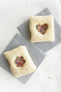 Not that I like Fairy Bread, but if I have to make it, this makes it so cute! They've added peanut butter under as well.