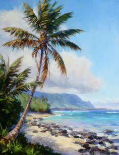 Secret Spot KAUAI Original Hawai'i oil painting by Jenifer h. Prince Available as giclee on canvas Watercolor Art Landscape, Watercolor Ocean, Landscape Art, Landscape Paintings, Hawaii Painting, Hawaiian Art, Watercolor Pictures, Tropical Art, Fine Art