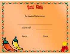 Honor the winner of a chili cookoff with this printable certificate featuring a Southwest border and hot peppers. Free to download and print