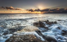 Download wallpapers Greece, sea, waves, clouds, morning, coast, summer