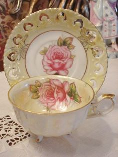 Royal Halsey Footed Cup Saucer Pink Roses Reticulated Yellow!