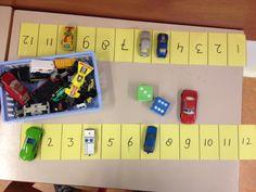 Getalbegrip; Parkeerspel; twee parkeerstroken en twee dobbelstenen. Je gooit acht, dan parkeer je een auto op 8. Wie heeft als eerste de parkeerplaatsen vol? Met dank aan mijn collega!