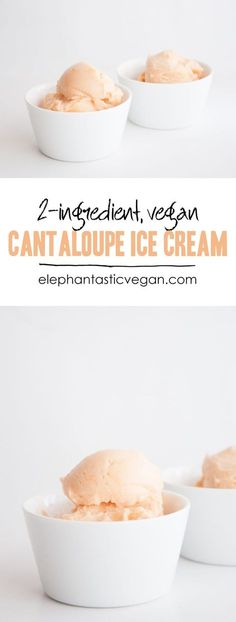 Recipe for a super easy, but awesome vegan 2 Ingredient Cantaloupe Ice Cream. No ice cream machine is needed for this treat! It's also gluten-free and raw.