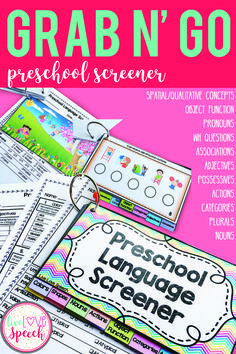 This Grab N' Go Pack is perfect to screen & informally assess your students. It targets the following receptive & expressive preschool skill areas: Nouns, Actions, Object Functions, Categories, Spatial & Qualitative Concepts, Pronouns, Adjectives, Associa