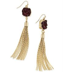 Inc International Concepts Druzy Crystal Tassel Earrings, ($22) ❤ liked on Polyvore featuring jewelry, earrings, merlot, earring jewelry, rose gold tone earrings, glitter earrings, druzy earrings and gold colored earrings