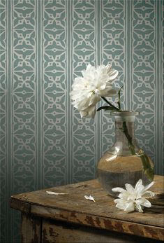 Fretwork wallpaper by St Vitus London. could be soft on floors.